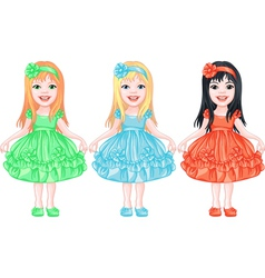 Girls in fancy dresses vector