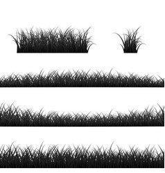 Grass borders set black grass panorama isolated vector