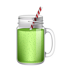 Green smoothie mockup realistic style vector