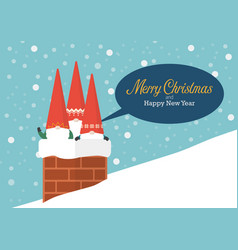 group of little santa in chimney vector image