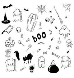 halloween doodle icon set vector image