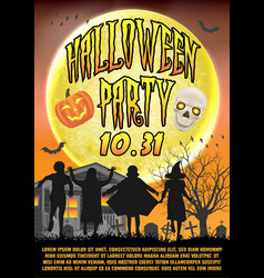 halloween party poster wtih kids in costume vector image