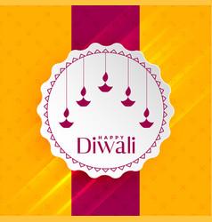 Happy diwali greeting with hanging diya vector