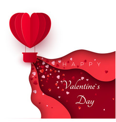 happy valentines day greeting card with paper cut vector image