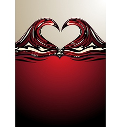 Heart shaped waves on red wine vector image