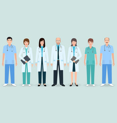 Hospital staff set of seven man and woman doctors vector