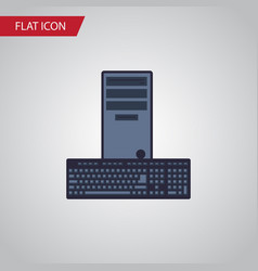 isolated keyboard flat icon processor vector image