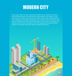 isometric city map with modern buildings vector image