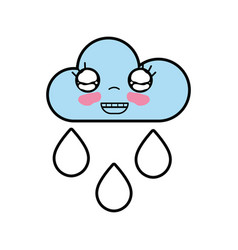 kawaii nice happy cloud raining vector image