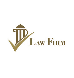 Law firm logo with pillar and check mark vector
