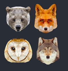 low poly forest animals vector image