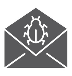 Mail virus attack glyph icon message and security vector