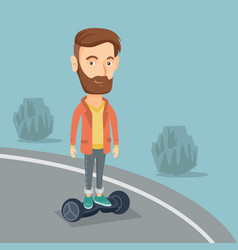 man riding on self-balancing electric scooter vector image