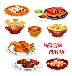 Mexican cuisine dinner icon with snack and sauce vector