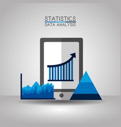 Mobile statistics data analytics process chart vector