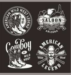 monochrome vintage wild west labels vector image
