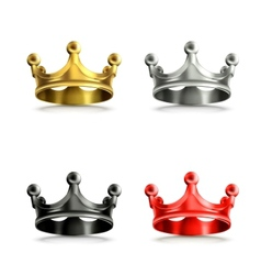 Multicolored crowns set vector
