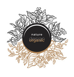 Nature ornament in circle template coffee card vector