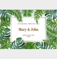 Nature wedding marriage event invitation card vector