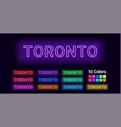 neon name of toronto city vector image