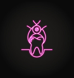 neon tooth extraction icon in line style vector image