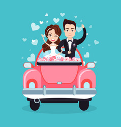 Newlywed couple riding car waving hands vector