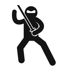 Ninja fighting icon simple style vector