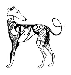 ornate dog sketch vector image