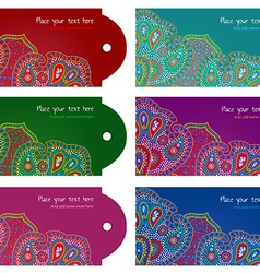 Paisley ornament message tags set vector image