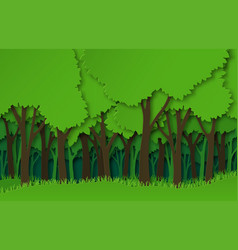 Paper forest green paper cut trees silhouettes vector