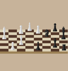 Picture of chessboard and chess figures on it vector