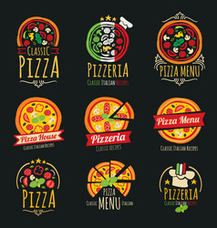 pizza logos pizzeria italian cuisine vector image