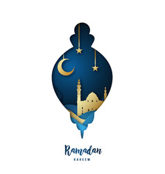 ramadan kareem with arabic gold origami mosque vector image