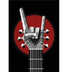Rock poster with a metal hand and guitar music vector