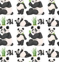 Seamless panda and bamboo vector