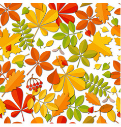 Seamless pattern autumn falling leaf isolated vector