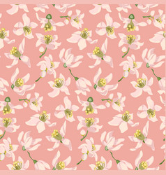 Seamless pattern with citrus tree flowers of vector