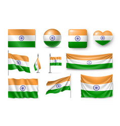 set india flags banners banners symbols flat vector image