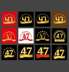 Set of number forty-seven 47 years celebration vector