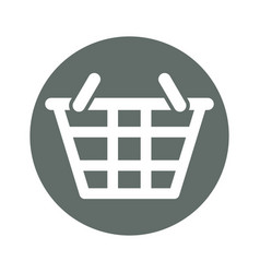 Shopping basket round icon vector