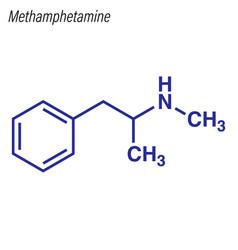 Skeletal formula methamphetamine drug chemical vector
