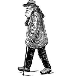 Sketch an old man going for a stroll vector