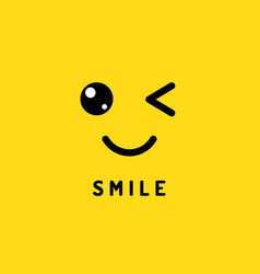 Smile and winking happy smiling face funny wink vector