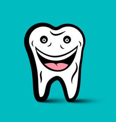 Smiling white tooth cartoon dental symbol vector