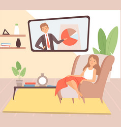 Stay at home housewife resting cartoon woman in vector