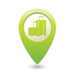 suitcases icon green map pointer vector image