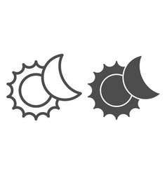 The sun and moon line and glyph icon solar vector