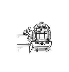 train station and passenger gets on the train hand vector image