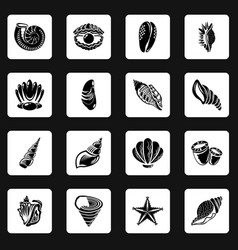 tropical sea shell icons set simple style vector image