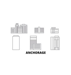 united states anchorage line travel skyline set vector image